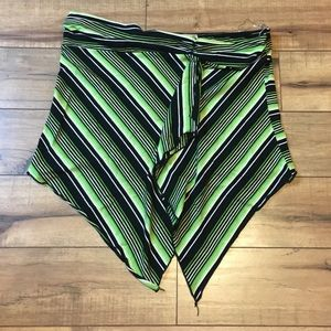 Women's green black stripped strapless top